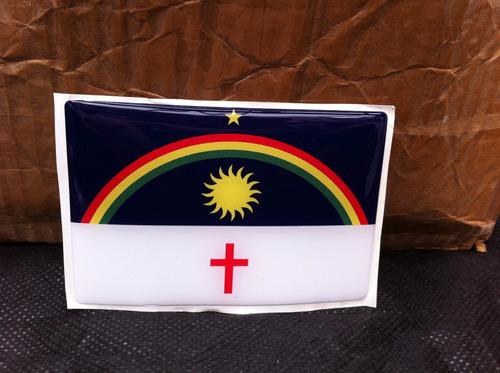 adesivo resinado da bandeira de pernambuco 9 cm por 6 cm