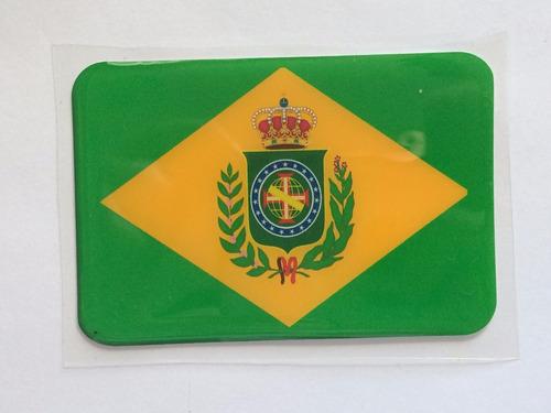 adesivo resinado da bandeira do brasil império 5 cm por 3 cm