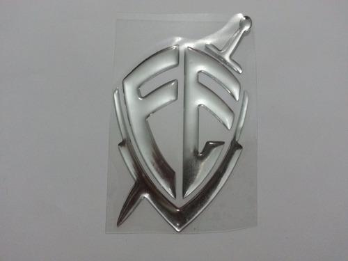 adesivo resinado fé alto relevo grande prata