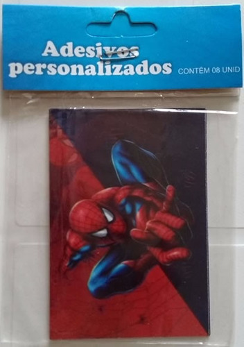 adesivo retangular homem aranha (08 unidades)