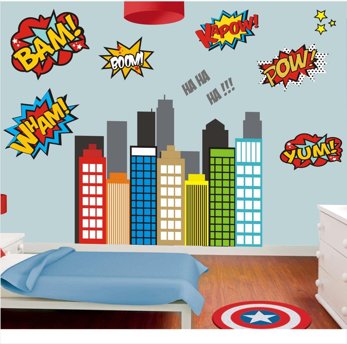 Revestimento Parede Quarto Infantil ~ Adesivo Revestimento Parede Infantil Herois Avengers Mod 06  R$ 149
