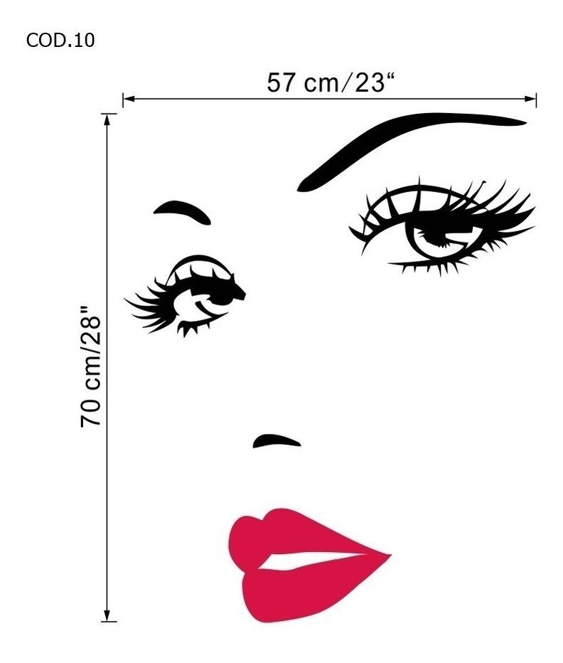 Adesivo Rosto Olhos E Sobrancelhas Salao De Beleza Parede R 22