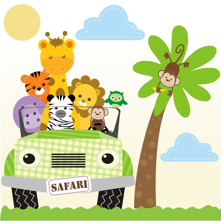 Adesivo safari decorativo parede safari infantil bebe zoo - Papel decorativo infantil ...