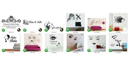 adesivo salão make up estética nome personalizado 120cm