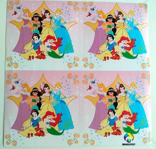 adesivo seis princesas quadrado 7x7cm (20 unidades)