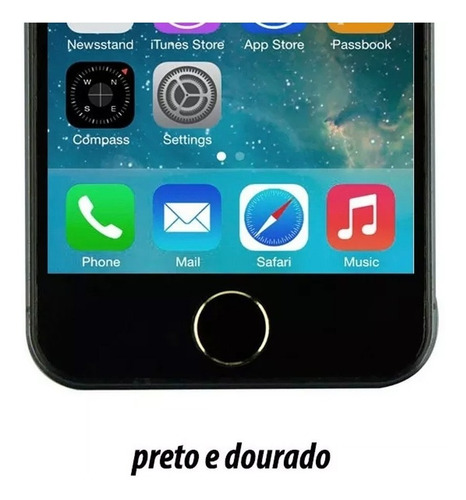 adesivo sticker botão home iphone estilo 5s preto e prata