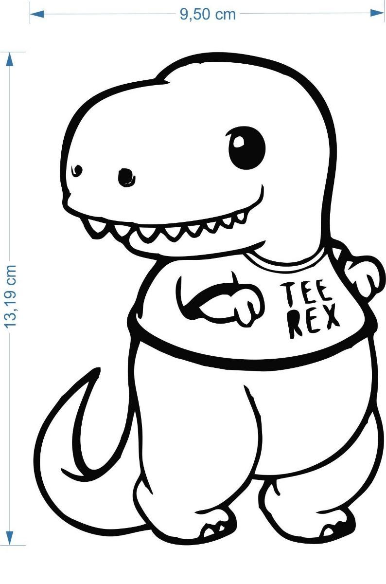 adesivo tiranossauro t rex cute 10cmx15cm desenho geek nerd r 14