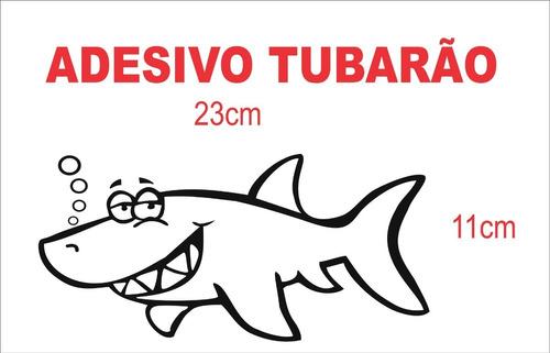 adesivo tubarão caricatura ( branco )
