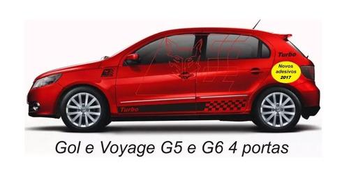 adesivo turbo gol g5 g6 4/p kit faixa lateral acessórios la