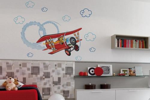adesivo ursinho aviador - mudo minha casa
