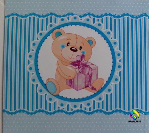 adesivo ursinho azul quadrado 7x7cm (20 unidades)