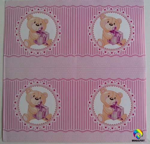 adesivo ursinho rosa quadrado 7x7cm (20 unidades)