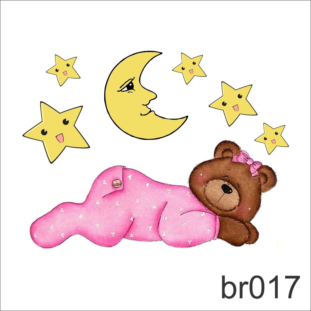 Adesivo Para Box De Banheiro Jateado ~ Adesivo Urso Ursinho Dormindo Cabeceira Cama Menina Br017 R$ 65,61 em Mercado Livre