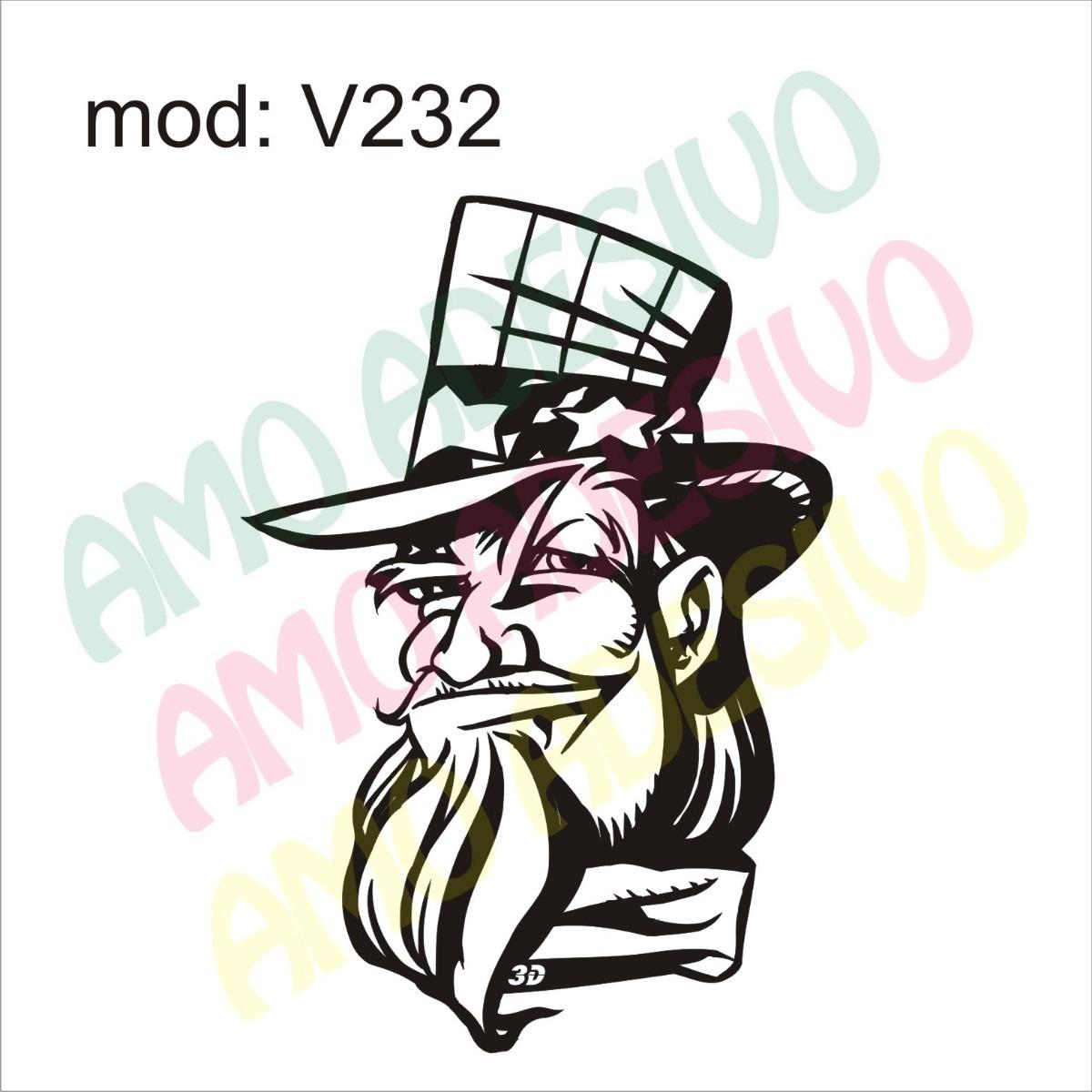 Aparador Moveis ~ Adesivo V232 Desenho Abstrato Rosto De Um Homem Chapeu R$ 85,29 em Mercado Livre