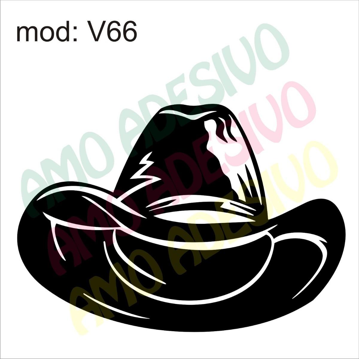 Adesivo V66 Chapeu Cowboy Desenho Abstrato Decorativo Parede - R  87 ... f9e374a4e38