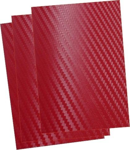 adesivo vermelho fibra de carbono 10 folhas 21x30cm