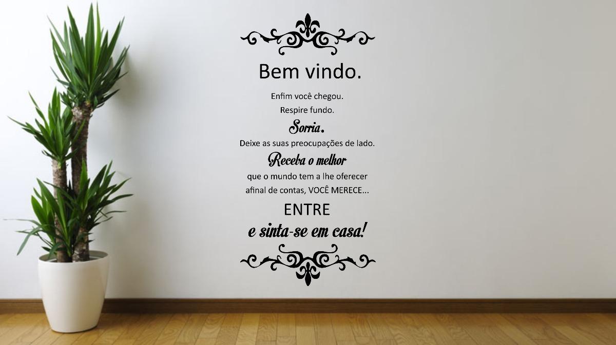 Adesivo Vinil De Parede Sala Frase Bem Vindo Casa Fam Lia R 39 90  -> Adesivo Parede Sala Estar