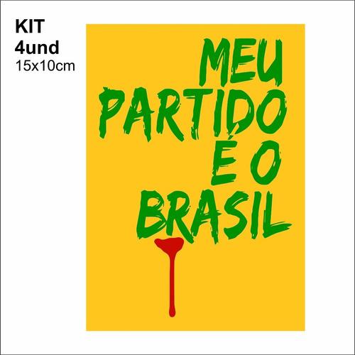 adesivo vinil - meu partido é o brasil - facada