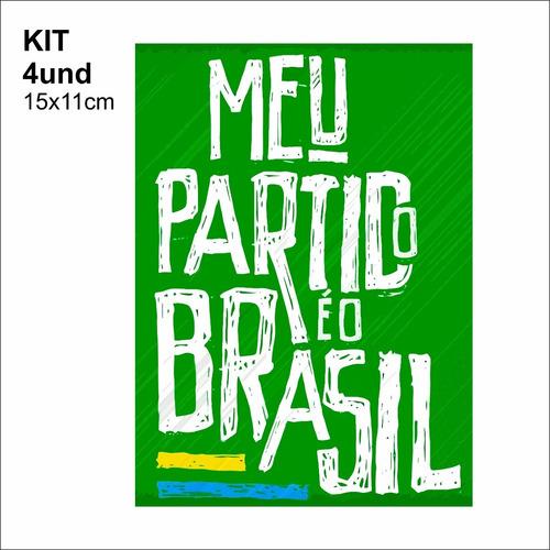 adesivo vinil - meu partido é o brasil - verde