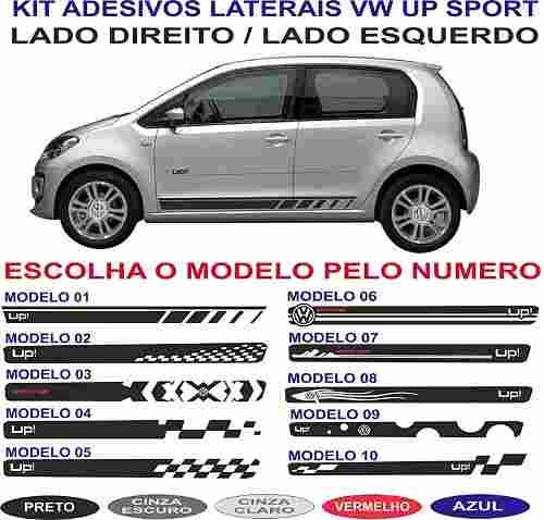 adesivo vw up lateral porta par sport tuning racing