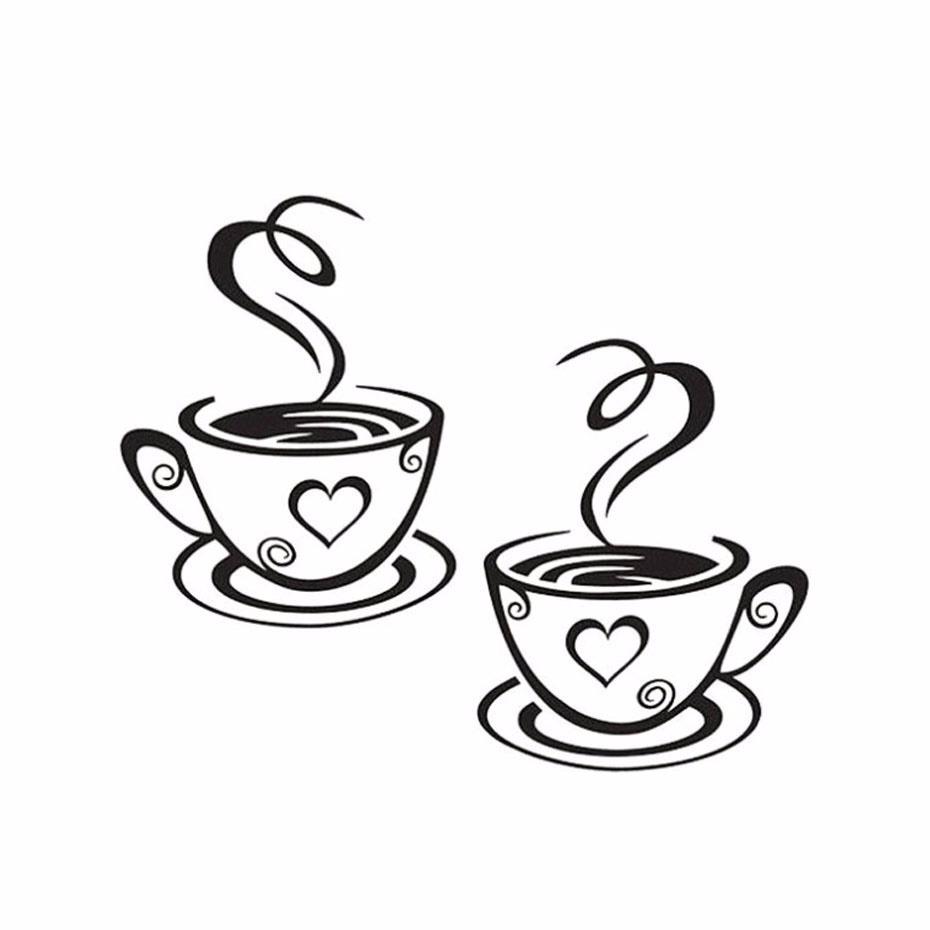 Aparador Azul Tifany ~ Adesivo Xícara Café Coraç u00e3o 2 Xícaras De Brinde Exclusivo R$ 215,52 em Mercado Livre