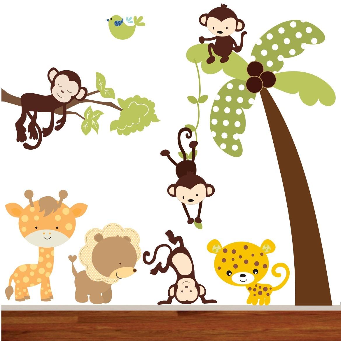 Adesivo Zoo Infantil Safari Decorativo Coqueiro Selva Galhos