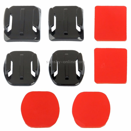 adesivos 3m+suportes adaptadores curvos e retos gopro 3/4/3+
