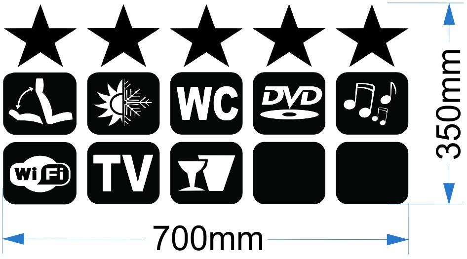 Adesivos 5 Estrelas Para Onibus E Vans (com Icones) R$ 40,00 em Mercado Livre