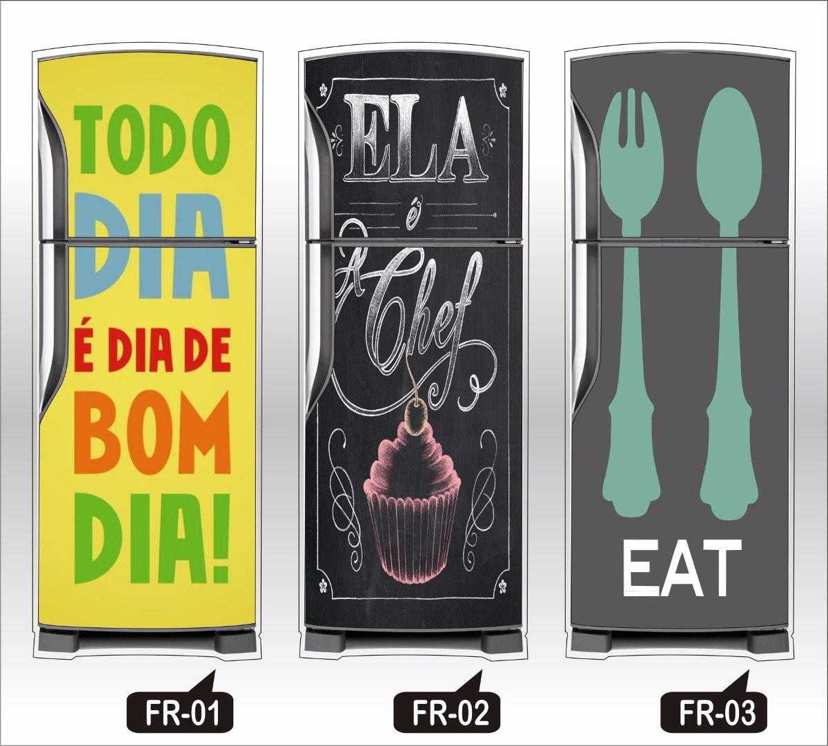 Armario Sob Medida Para Cozinha ~ Adesivos De Geladeira Skin Bebidas, Retro, Animais Abstrato R$ 146,17 em Mercado Livre