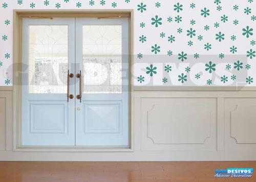 adesivos de parede decorativo kit com 70 flores - 30 modelos