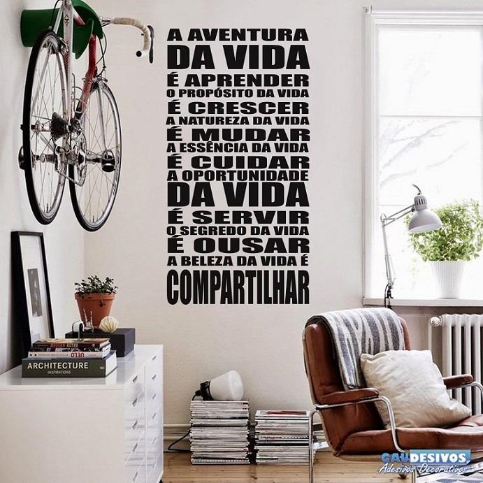 Aparador De Livros Em Ingles ~ Adesivos De Parede Decorativos Frases Aventura Da Vida R$ 39,38 em Mercado L