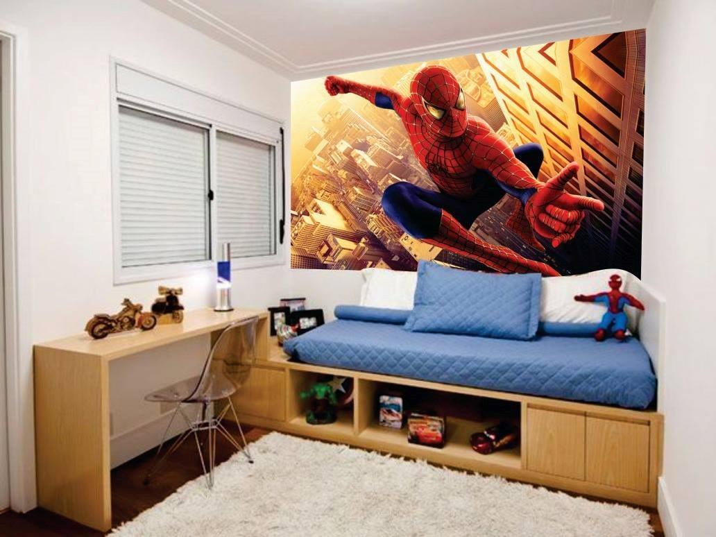 Adesivos Decoração Quarto Homem Aranha Painel 5m2 R$ 169  ~ Vinil Quarto Jovem