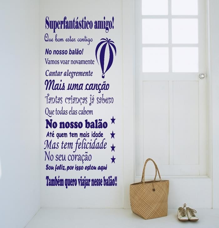 Aparador De Livros Em Ingles ~ Adesivos Decorativos De Parede Frases, Musica Canç u00e3o Bal u00e3o R$ 62,99 em Mercado Livre