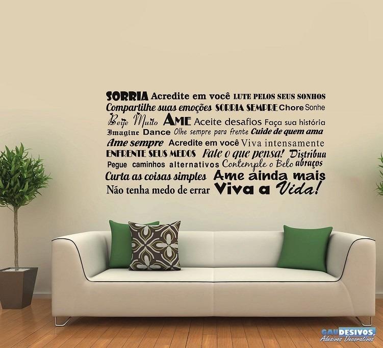 Aparador De Livros Em Ingles ~ Adesivos Decorativos De Parede Frases Sorria Acredite R$ 34,99 em Mercado Livre