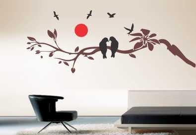 adesivos decorativos de  parede galhos florais passaros novo