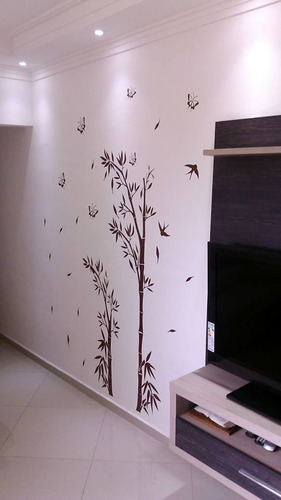 adesivos decorativos de parede - tema bambu oriental grande