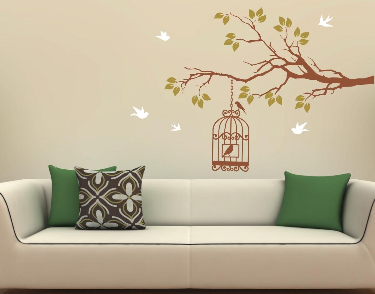 Adesivos decorativos parede galhos p ssaros rvores gaiola for Papel de pared barato