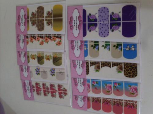 adesivos impressos p/ unhas kit 50 cartelas + frete grátis