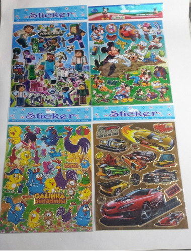 adesivos infantis stickers 30 cartelas tamanho grande
