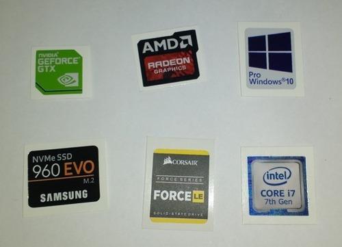 adesivos: intel core i3, i5 i7, ssd, nvidia, corsair