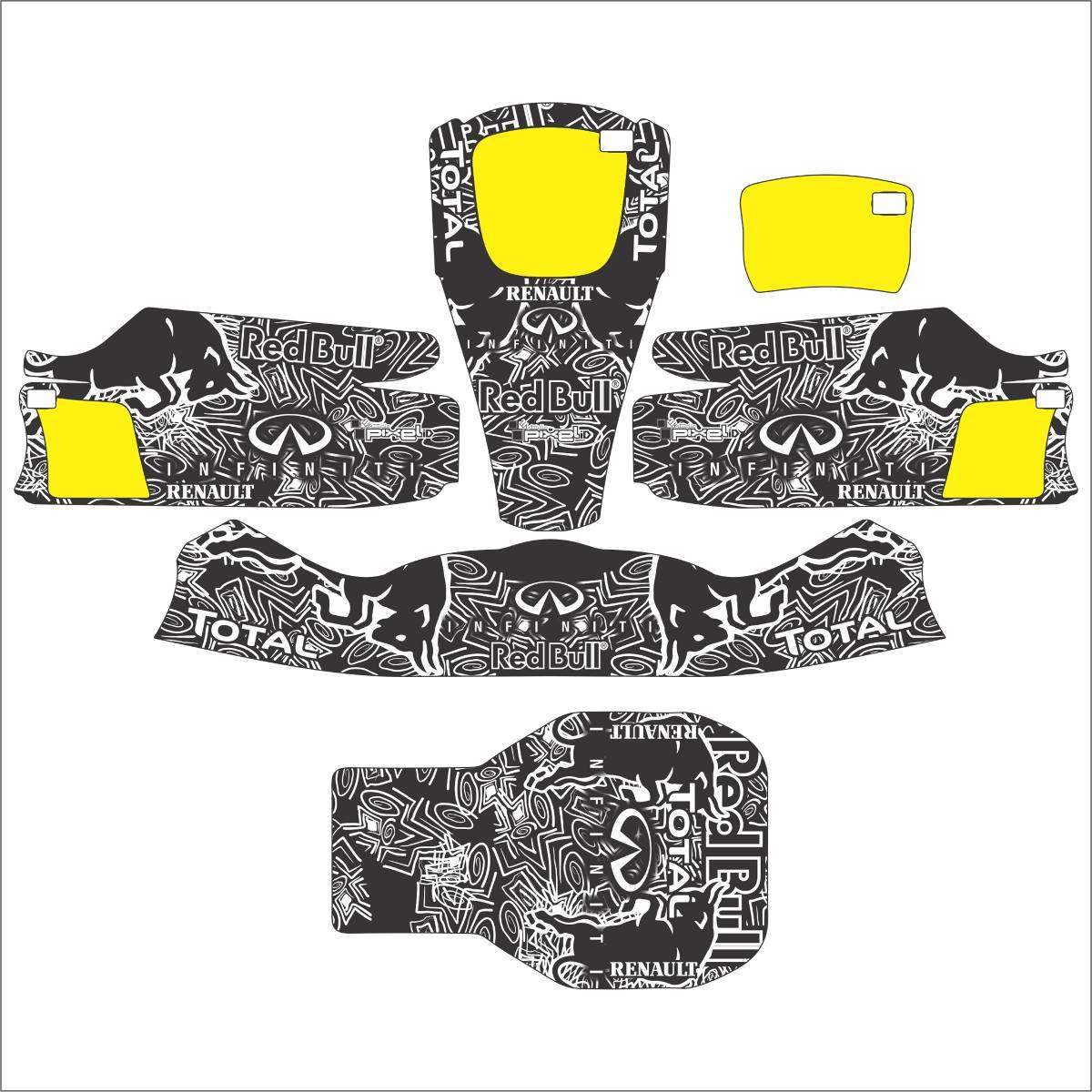 Adesivos Kart - Réplica F1 Red Bull Racing Black - R  350 de5af1c039fea