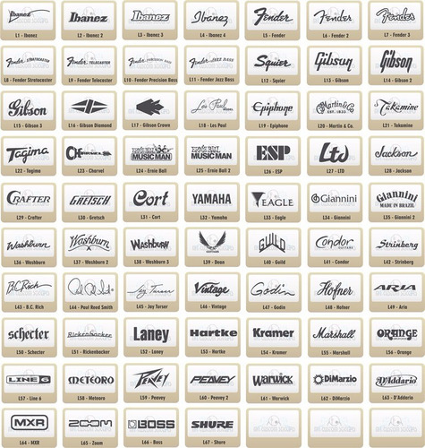 adesivos logos ibanez, fender, takamine, gibson, boss, zoom