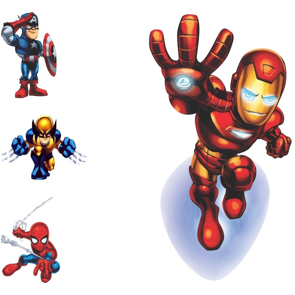 Adesivos Marvel Homem De Ferro Thor Hulk Capitão América