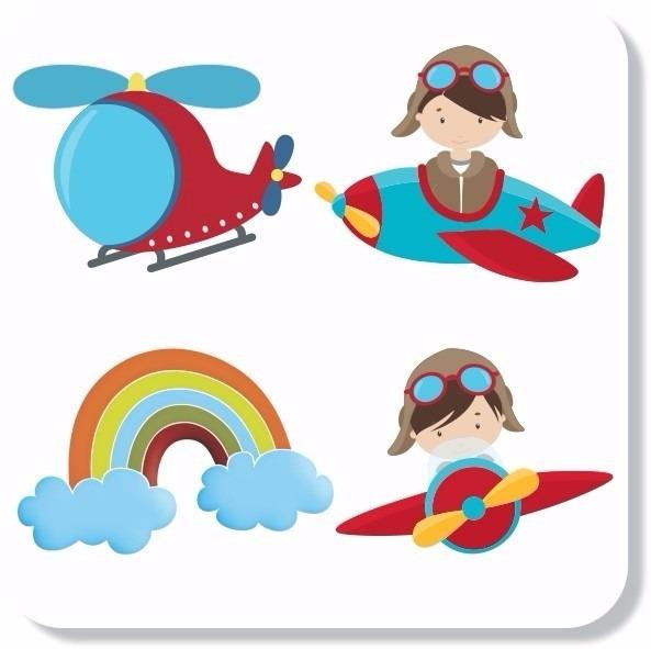 adesivos parede infantil aviador avião nuvens lindo quarto r 80