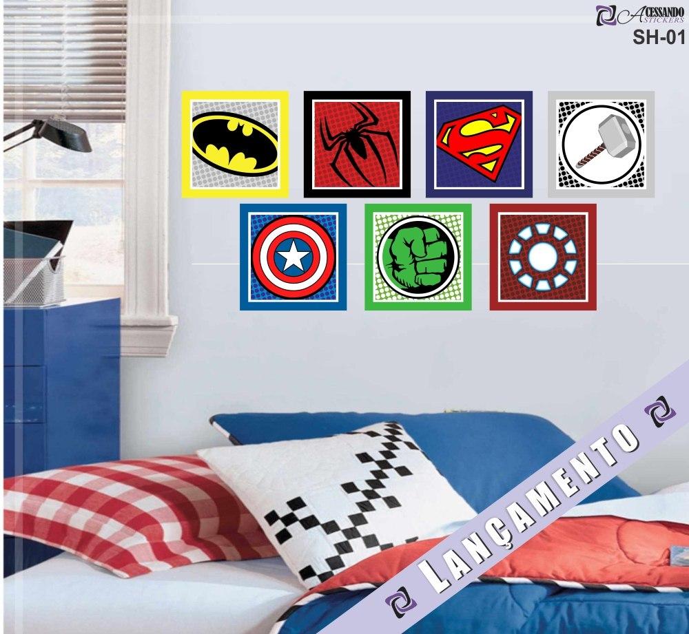 995482d0dad727 Adesivos Parede Infantil Quarto Herois Batman Superman Hulk