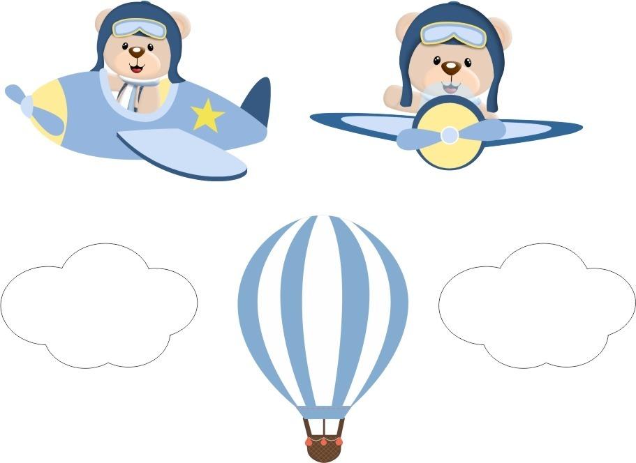 Adesivos Parede Infantil Urso Aviador Baloes Balao Nuvens R 39