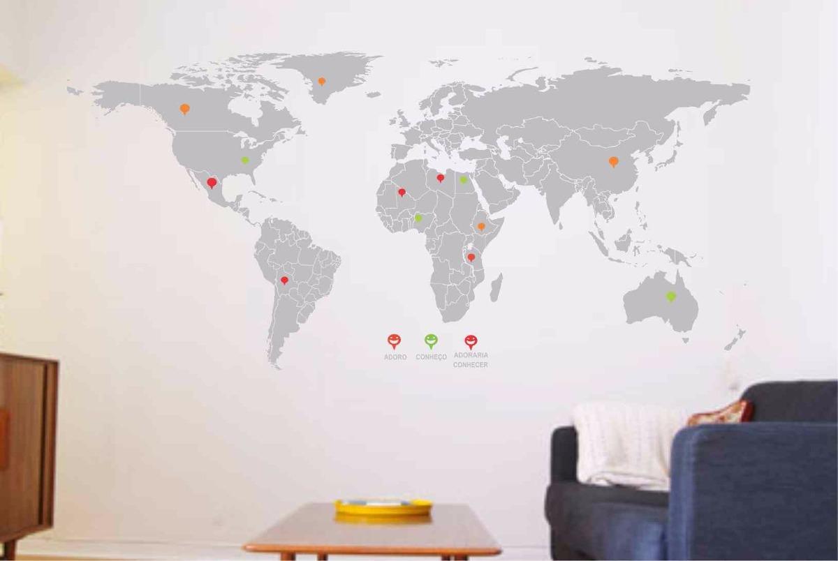 mapa da parede Adesivos De Parede Mapa Mundi Sala Escritório   R$ 126,16 em  mapa da parede