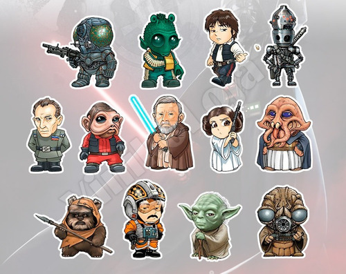 adesivos star wars kit c/ 26 personagens diversos