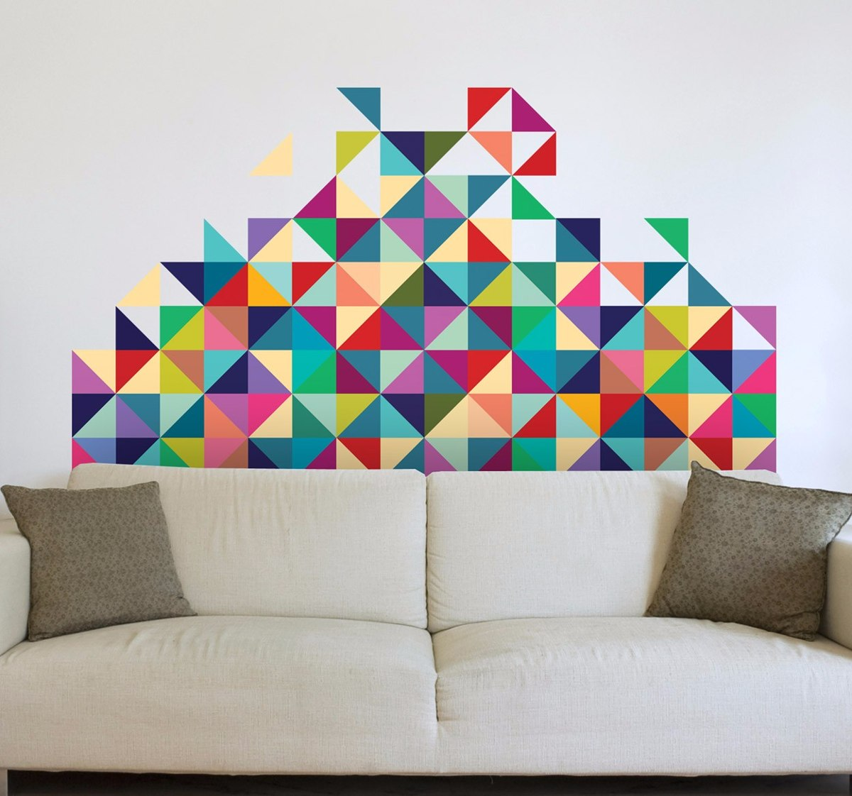 Adesivos triangulos de parede coloridos 8x8 cm 240 un r em mercado livre for Peintures murales tendances