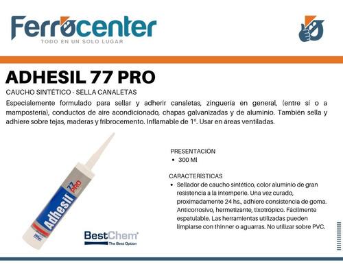 adhesil 77 pro sella canaletas gris alu zinguería caja 12 un